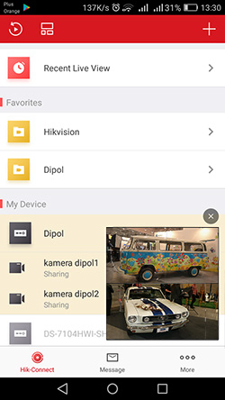 The start menu of the Hik-Connect app  with live view thumbnail